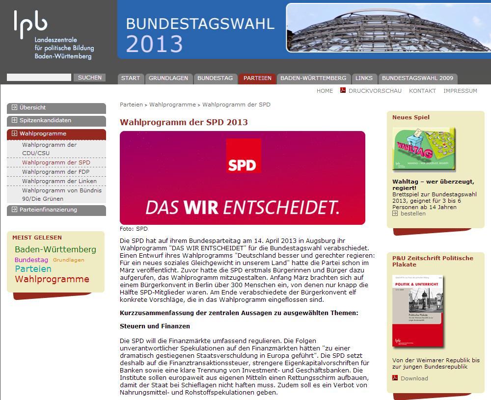Bundestagswahl 2013 offizielle Seite