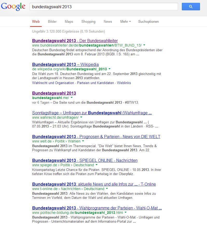 Suche Bundestagswahl 2013