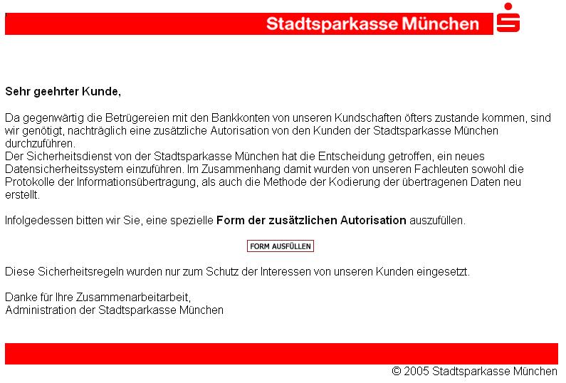 Sparkasse Phishing Mail