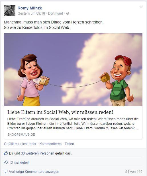 Kinderfotos im Netz - Diskussion Romy Mlinzk