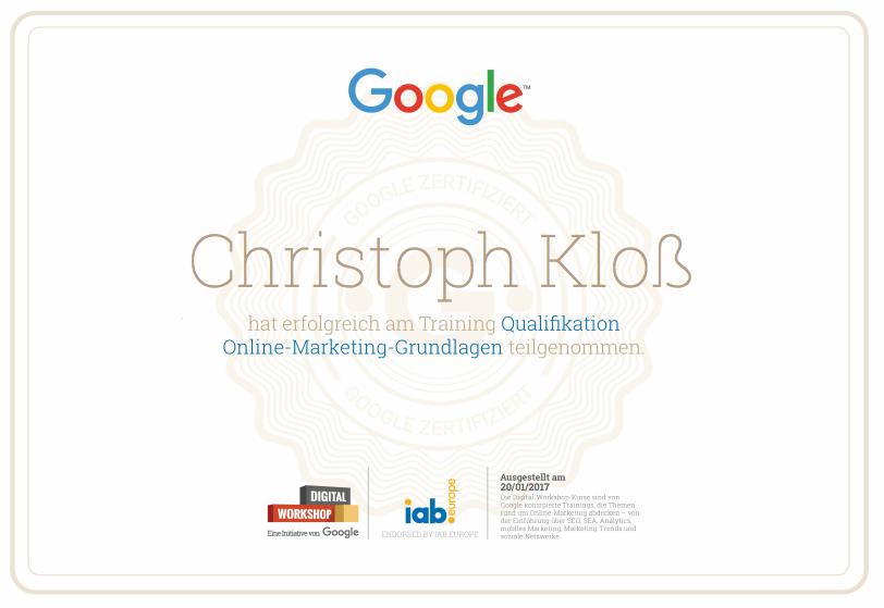 Google Digital Workshop - Zertifikat