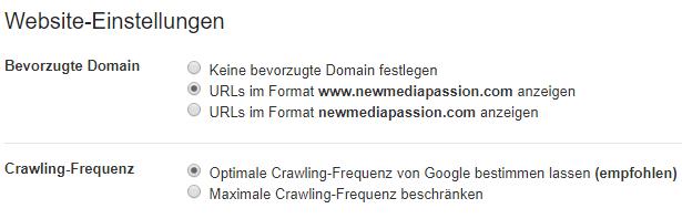 Google Search Console - bevorzugte Domain