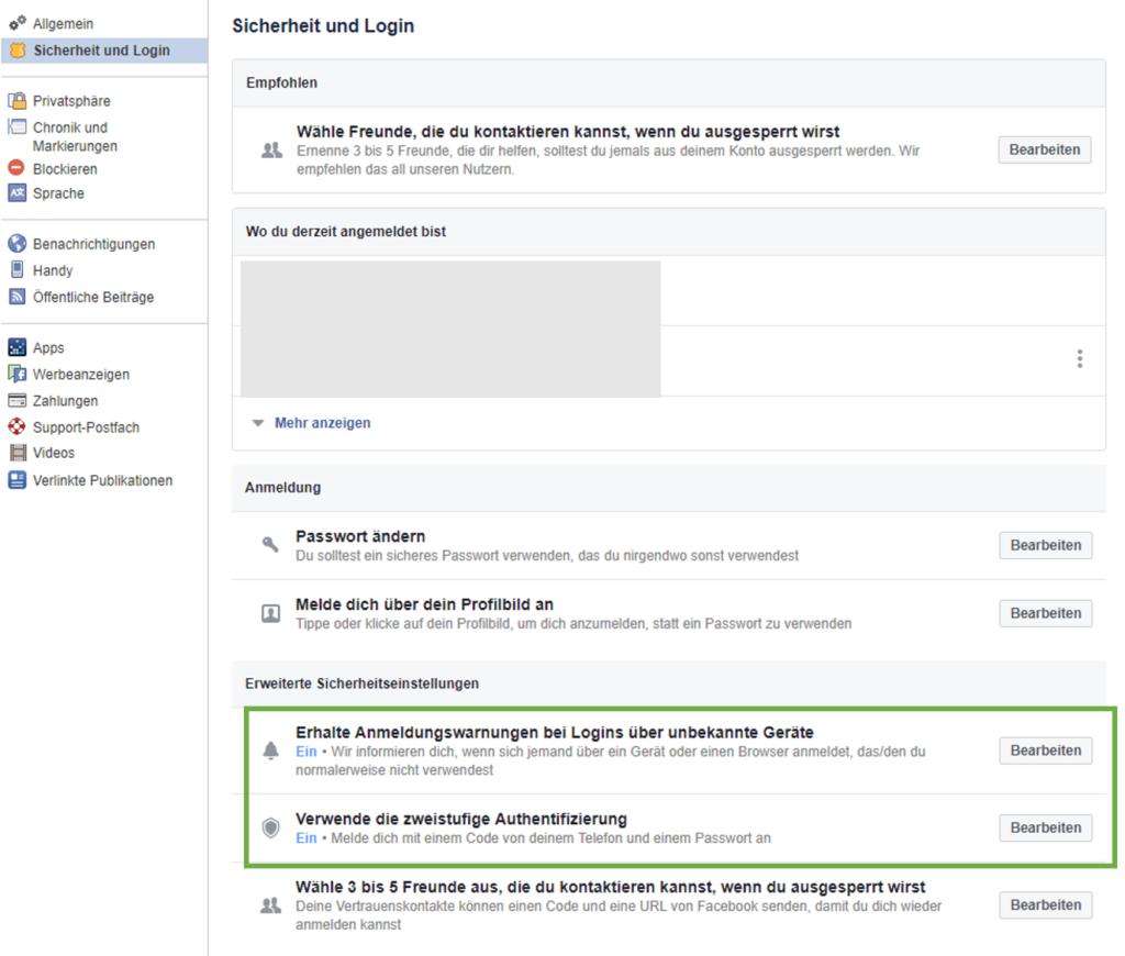 Facebook-Sicherheitseinstellungen
