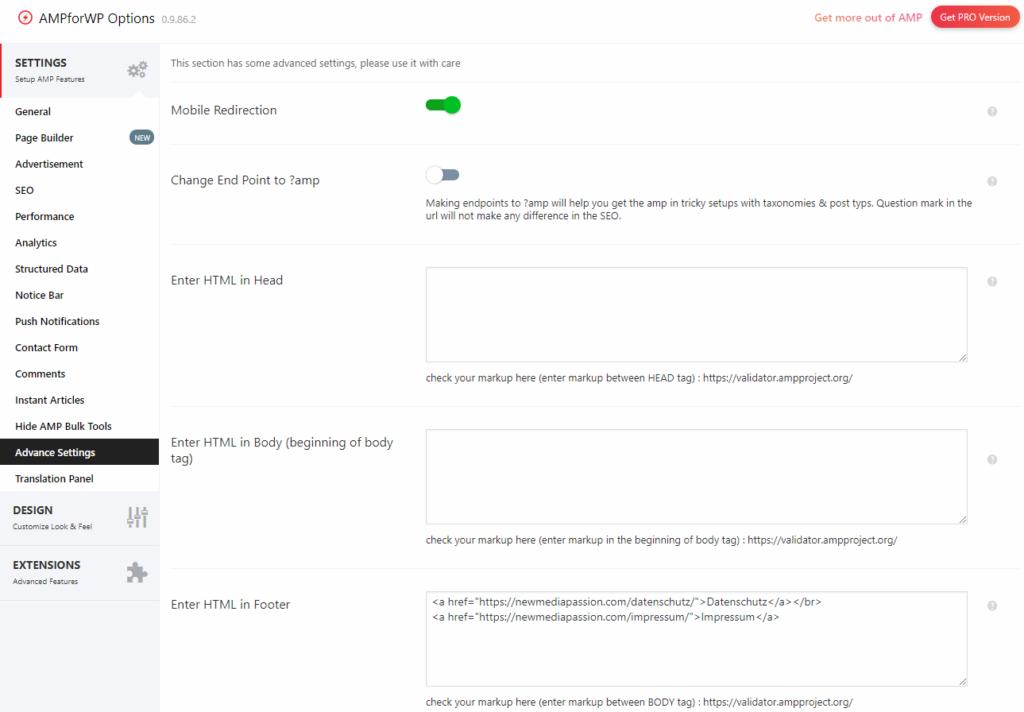 AMP WordPress datenschutzkonform